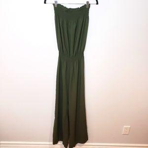 Venus Army Green Strapless Flowy Leg Jumpsuit